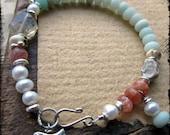 Bird bracelet, Sterling silver Matte amazonite Sunstone Freshwater pearls - Songbird