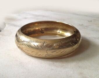 Vintage Bracelet, Brass Bangle, Made in India, Etched Brass, Wide, Hippie, Boho, Hipster, 1970's