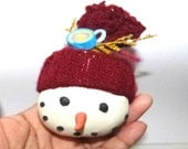 classic limited edition hand sculpted polymer clay Whimsy Cute Christmas snowman     Christmas Ornament    christmas polymer clay ornaments