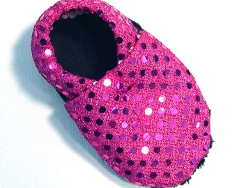 Disco Pink Soft Soled Baby Shoes 0-6mo