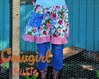 PDF Apron Pattern Instant Download Cowgirl Cutie Half Apron Pattern PDF Easy to Sew Kitchen Vintage Market