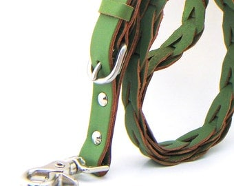 Short Traffic Lead Leash Braided Green Leather, Large Dog, EcoFriendly Recycled Leather Belt, Seattle Handmade, Short Leash, OOAK