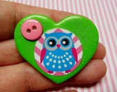Cute Little Owl - Polymer Clay Glitter Heart Brooch or Necklace