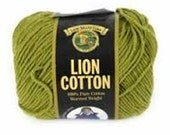 Cotton Yarn Lion Brand Worsted Weight Knitting Crochet Dishcloth Cotton Yarn Avocado Green Destash Sale