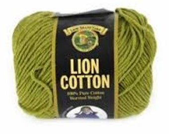 Cotton Yarn Lion Brand Worsted Weight Knitting Crochet Dishcloth Cotton Yarn Avocado Green Destash Sale