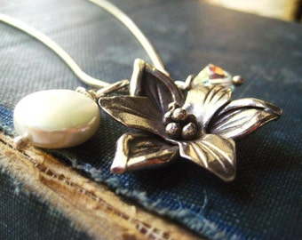 flower necklace, Karen hill tribe, sterling silver, coin pearl, vintage crystal, womens jewelry