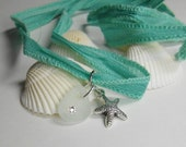 SALE, Sea Glass Jewelry -  Ribbon Wrap Charm  Bracelet, Necklace, Or Anklet - Yoga Wrap - THE DEEP