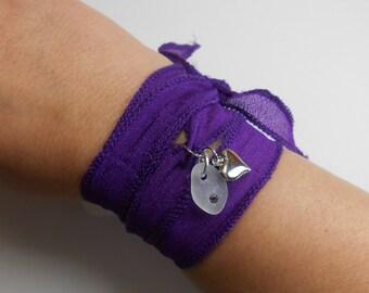 SALE Sea Glass Jewelry -  Yoga Ribbon Wrap Charm  Bracelet, Necklace, Or Anklet - Wrap It Up - PURPLE PASSION