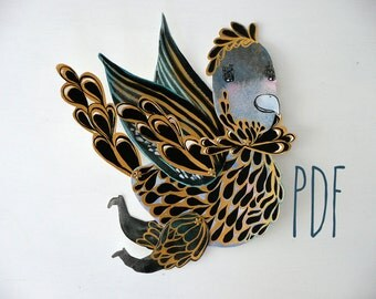 Flying Running Bird PDF Articulated Paper Doll / Hinged Beasts Series