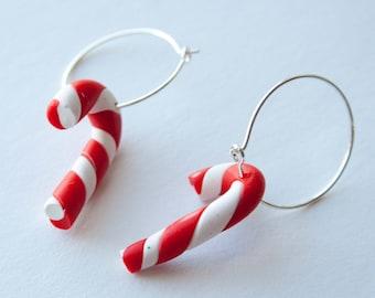 Candy Cane Earrings, Christmas Jewelry, Polymer Clay Hoop Earrings