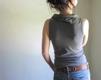 Organic Cotton Cowl Tank, Stone Grey Blouse, Sleeveless Shirt, Women's Tshirt, Organic Clothing, Organic Top, Custom Made