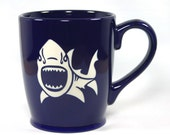 Shark Mug - Navy Blue - dishwasher & microwave safe coffee cup