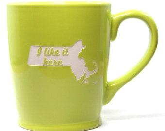 SALE - Massachusetts State Mug - Green - I Like It Here