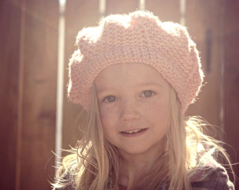 Crochet PATTERN PDF - Girls Beret, Crochet Beret, Slouchy Girls Hat - sizes 6 months to 6 years