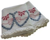 Vintage Pillow Cases - Two Hearts Embroidery Pillowcases, Pair Cotton - Pink Blue