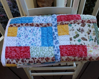 Vintage Quilt - Colorful Fabrics - Country Quilt - White Backing - Hand Quilted - Twin Blanket