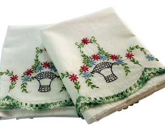 Vintage Embroidery Pillow Cases - Flower Garland Pillowcases, Pair - Green Red Basket - Crochet Edge - Cotton - Full - Queen
