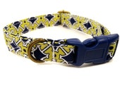 The Cambridge - Organic Cotton CAT Collar Breakaway Safety Lime Green Navy Blue Preppy - All Antique Brass Hardware