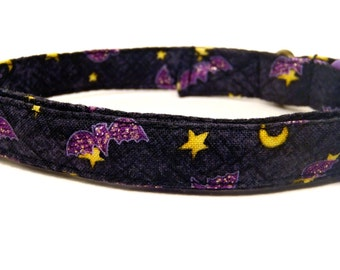 Bat Cat - Organic Cotton CAT Collar Breakaway Safety Purple Bats Halloween - All Antique Brass Hardware