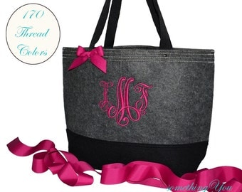 Monogrammed Black and Gray Felt Tote Bag - Personalized felted wedding totes - wedding bridal party bags bridesmaids purses teacher tote