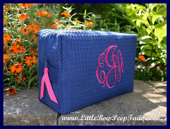 Monogrammed Cosmetic Bag - Personalized Waffle Weave bridesmaids womens makeup make up case dance set purple teal blue lime coral