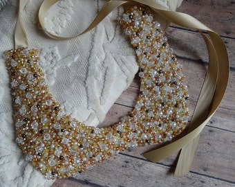 Statement Necklace, Beaded, Bib, Handmade, Peter Pan Collar, Gold, Sparkle, Wedding, New Year