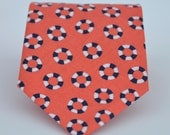 Coral and Navy Lifesavers Nautical Necktie for Men