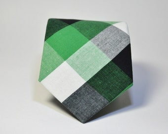 Boys Necktie Green and Black Check Toddler Tie