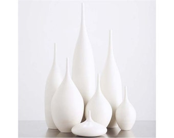7 modern ceramic pottery bottle vases in organic pure white glaze by sara paloma. home decor white pottery and ceramics bud vase tabletop