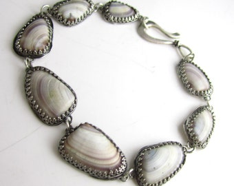 Sea Shell and Sterling Silver Bracelet