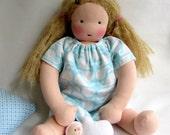 whales, blue, 14-16 inch, waldorf doll clothes, Nightgown, sleepwear, dress, for handmade dolls