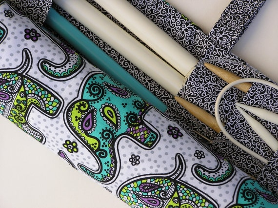 large knitting needle case - knitting needle organizer - elephants in teal, lime and purple- 36 pockets