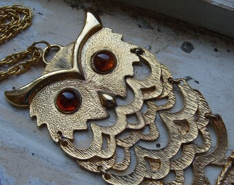 FREE SHIPPING Large Vintage Owl Metal Necklace with Amber Colored Eyes