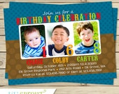 Triplet Sibling Joint Birthday Invitation 1-3 Children
