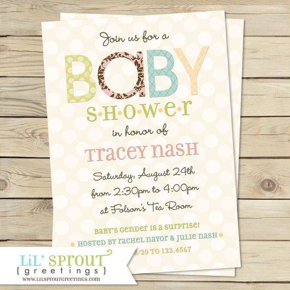 Vintage Shabby Baby Shower Invitation- You Print