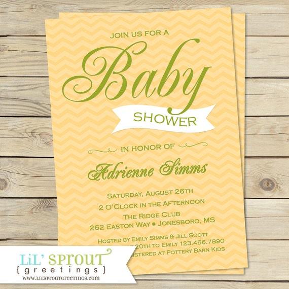 Modern Simple Chevon Baby Shower Invitation- Gender Neutral