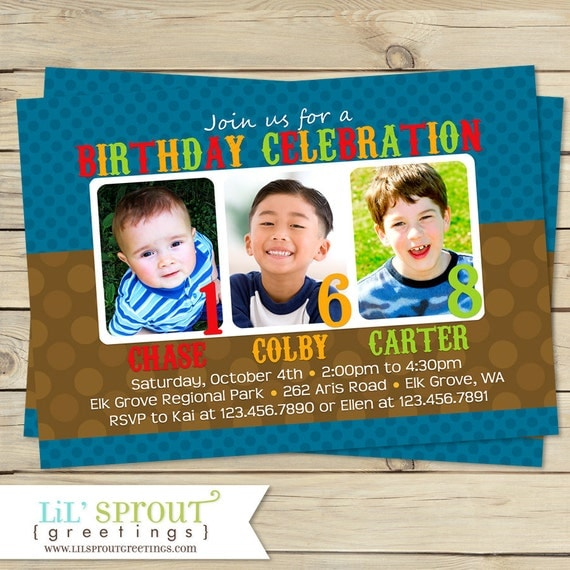 Triple birthday invitation three 3 child birthday party invite il570xn stopboris
