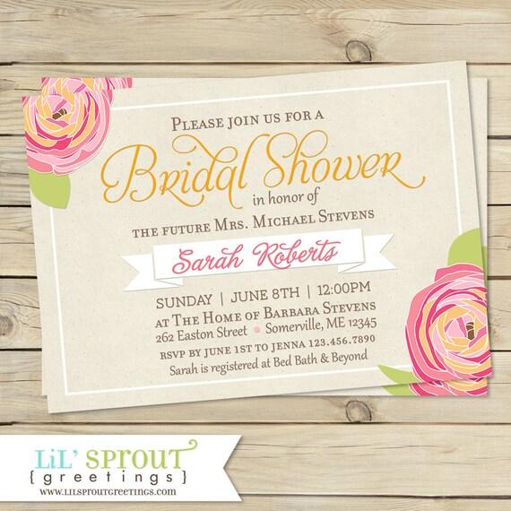 01dc46c8d165 Rustic Floral Bridal Shower Invitation- Print Your Own Wedding Shower  Invitations - Burlap and Pink Flower Design - Digital File - DIY