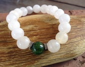 White and Green Jade Bracelet with Tibetan Silver