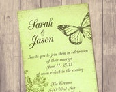 Wedding Invitation Suite - Custom Invite - Budget Bride - Printed Wedding Invitation - RSVP - Set - Vintage Butterfly / No V5