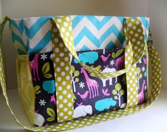 Extra Large Diaper bag Made of Chevron / Zoology   Fabrics - Messenger Bag - Diaper Bag - Tote Bag - Monogramming Available