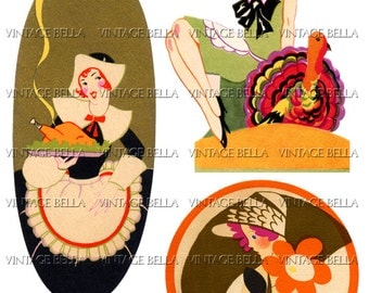 Vintage Art Deco Thanksgiving 1930s BRIDGE TALLY  Ladies - Digital Download 345 - by Vintage Bella