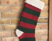Made To Order Traditional Red And Green Vintage Victorian Style Crocheted Striped Christmas Stocking