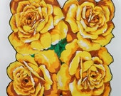 Lovely Vintage Floral Handkerchief - Huge Yellow Roses - Scalloped Hem