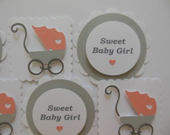 Baby Carriage Toppers - Coral and Gray - Girl Baby Shower Decorations - Gender Reveal Party - Sweet Baby Girl