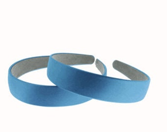 """2 pieces-25mm (1"""") Satin Covered Headband in Turquoise"""