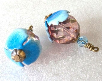 Handcrafted Czech Topaz Pink Lustre Faceted Glass Beads, Vintage Blue Enamel Caps and Aged Brass Dangles Charms Drops Jewelry Components - 2