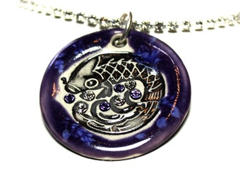 Koi Fish Sparkle Surly Necklace with Swarovski Crystals in Purple