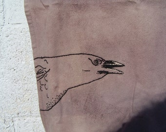 Crow Tea Towel - Hand dyed with Botanicals - Vintage Flour Sack Fabric