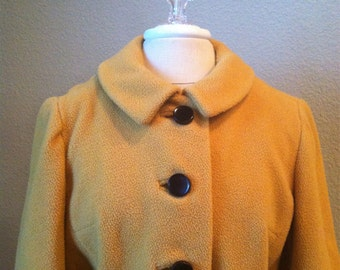 Vintage 50s yellow belted wool jacket / rockabilly / retro / large buttons / mustard yellow / winter coat / Mod / Mad Men